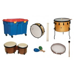 Lote instrumentos membrana (baúl incluido)