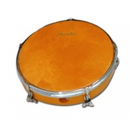 """Pandero naranja de piel Ø25.4 cm/10"""""""